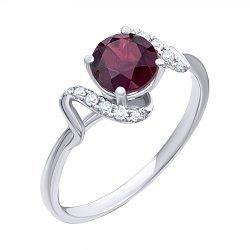 Кольцо из белого золота с рубином и бриллиантами 000139382