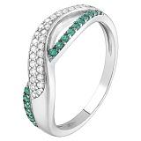 Серебряное кольцо с зелёным цирконием Анита