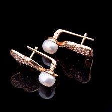 Золотые серьги Дарьяна с жемчугом и фианитами