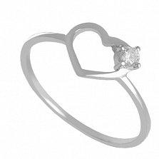Кольцо из белого золота с фианитом Sweet love