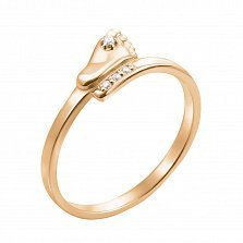 Кольцо из желтого золота с фианитами 000132789