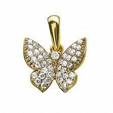 Золотой подвес в жёлтом цвете с бриллиантами Бабочка