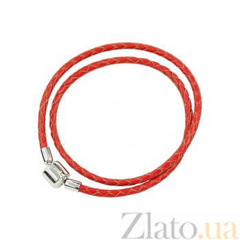 Кожаный браслет с серебром Casual 3Б203-0019