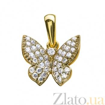 Золотой подвес в жёлтом цвете с бриллиантами Бабочка 000029256