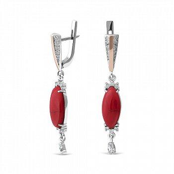Серебряные серьги с имитацией яшмы и фианитами 000149514