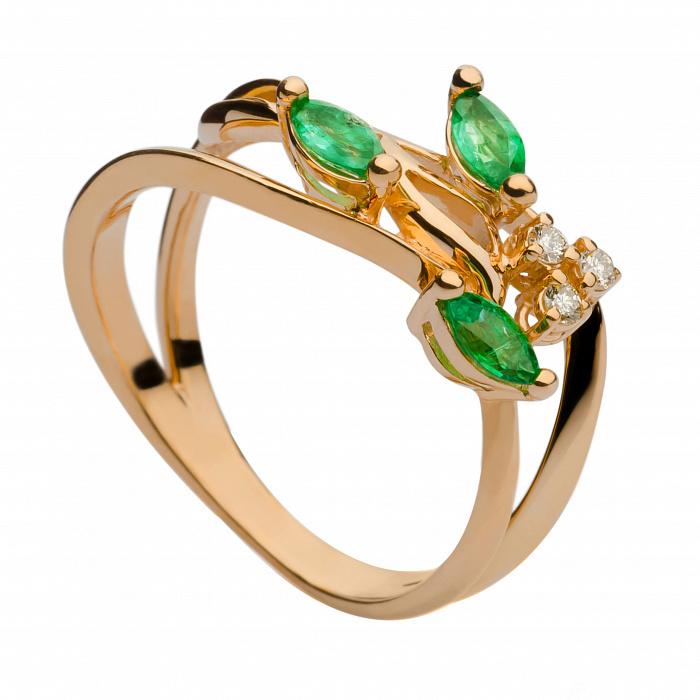 Золотое кольцо с изумрудами и бриллиантами Хармони 000030331
