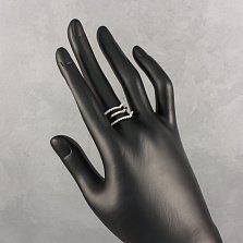 Серебряное кольцо Тройная линия с белыми фианитами и золотыми накладками