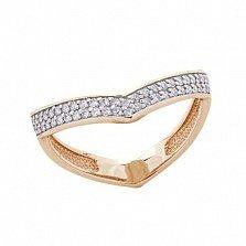 Серебряное позолоченное фаланговое кольцо Мирабель с фианитами