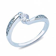 Кольцо серебряное с белым цирконом Дорога к сердцу