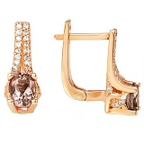 Золотые серьги Хармони с раухтопазом и фианитами