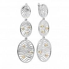 Серебряные серьги-подвески с золотыми вставками Лайали