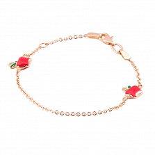 Золотой браслет Яблоки с эмалью