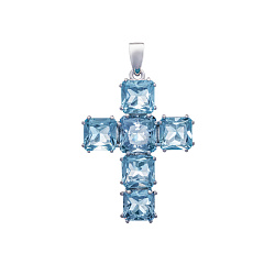 Серебряный декоративный крестик Клаудиа с синтезированным голубым кварцем