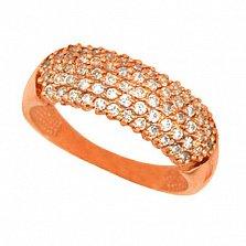 Золотое кольцо Сияние с белыми фианитами