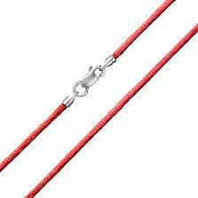 Красный шелковый шнурок Шик с серебряной застежкой