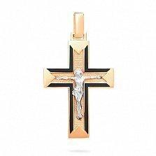 Золотой крестик с черной эмалью Духовность