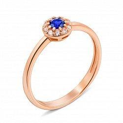 Кольцо из красного золота с сапфиром и фианитами 000135224