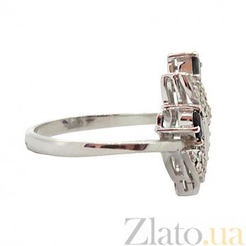 Серебряное кольцо с бриллиантами и сапфирами Хелми 000027316