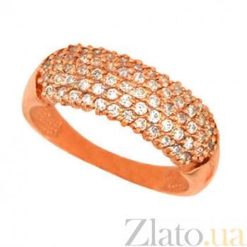 Золотое кольцо Сияние с белыми фианитами VLT--Е1383