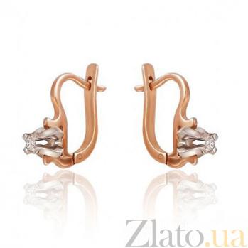 Золотые серьги  с бриллиантом Абсолютная элегантность EDM-С7450