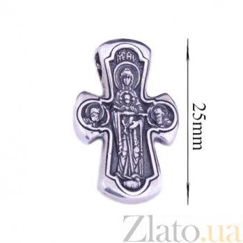 Серебряный крест с чернением Святой защитник 000026475