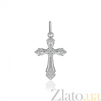 Серебряный крестик с фианитами Леония 000025293