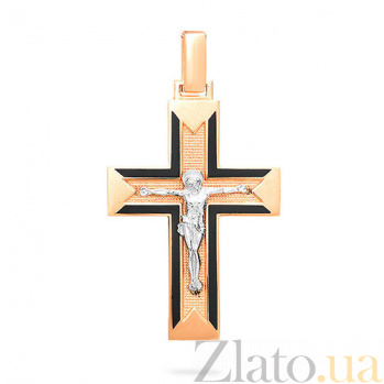 Золотой крестик с черной эмалью Духовность SUF--505010ч
