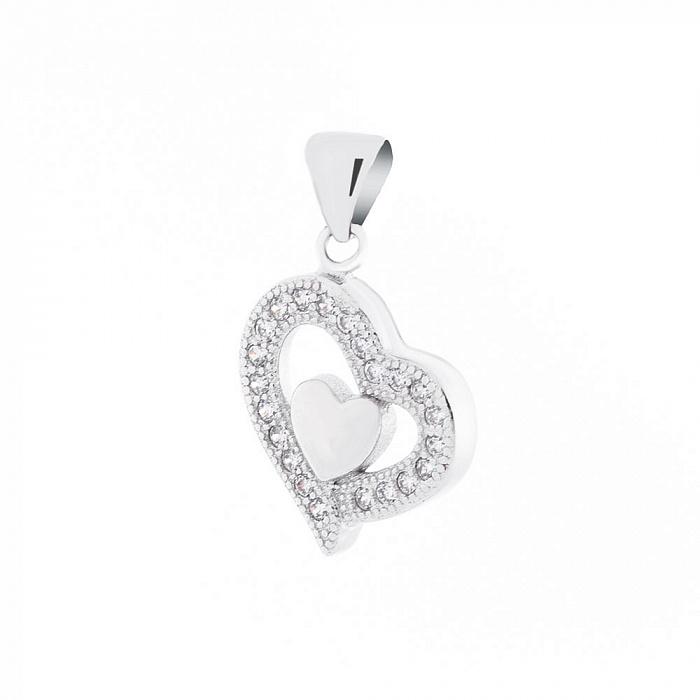 Серебряный подвес Любовь в сердце с фианитами 000066570