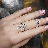 Серебряное кольцо Дианора на две фаланги с фианитами