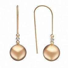 Золотые серьги Нити-шары в комбинированном цвете металла