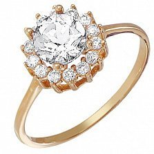 Кольцо из золота Георгин с кристаллами Swarovski