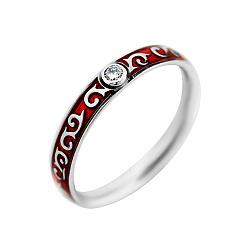 Обручальное кольцо из белого золота с бриллиантом и красной эмалью 000000453