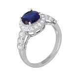 Серебряное кольцо с синим цирконием Надайн