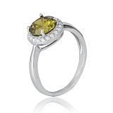 Серебряное кольцо Рашель с цирконием цвета хризолита