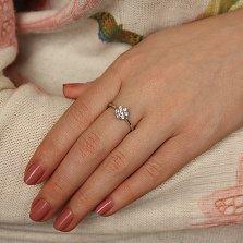 Серебряное кольцо Нежная гардения с фианитами