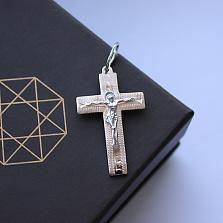 Серебряный крестик Оберег с золотой накладкой
