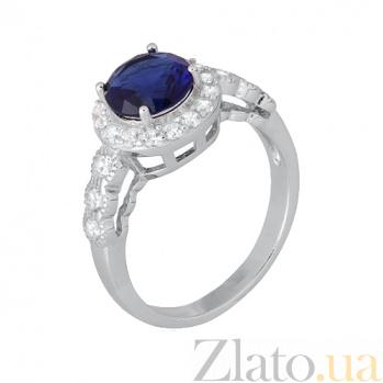 Серебряное кольцо с синим цирконием Надайн 000028360