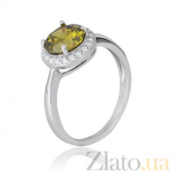 Серебряное кольцо Рашель с цирконием цвета хризолита 000028381
