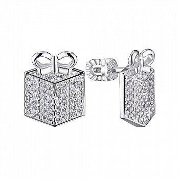 Серебряные серьги-пуссеты с фианитами 000148279