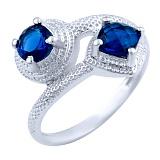 Серебрное кольцо Шаиста с синтезированными сапфирами