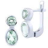 Серебряные серьги Алсу с зелеными аметистами