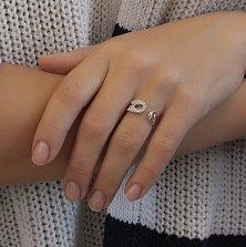 Серебряное кольцо Булавка-талисман с разомкнутой шинкой и белыми фианитами