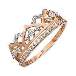 Кольцо-корона из красного золота с фианитами 000147782