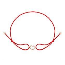 Шелковый браслет с золотым сердечком 000126893