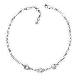 Золотой браслет в белом цвете с бриллиантами 000126887