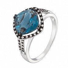 Кольцо в белом золоте Мираж с лондон топазом и бриллиантами