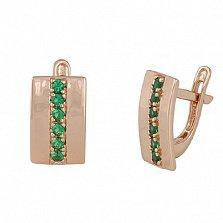 Серебряные серьги с зелеными фианитами Джания