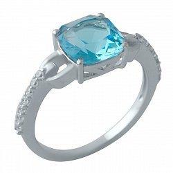 Серебряное кольцо с синтезированным аквамарином, фианитами и родированием 000128914