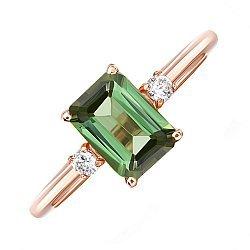 Кольцо из красного золота с зеленым турмалином и фианитами 000137048