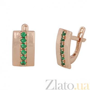 Серебряные серьги с зелеными фианитами Джания SLX--С3ФИ/034